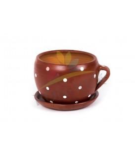 Cana ceramica mica maro